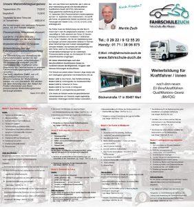 Flyer Weiterbildung für Kraftfahrer/innen