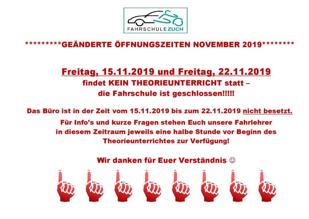 Geänderte Öffnungszeiten November 2019